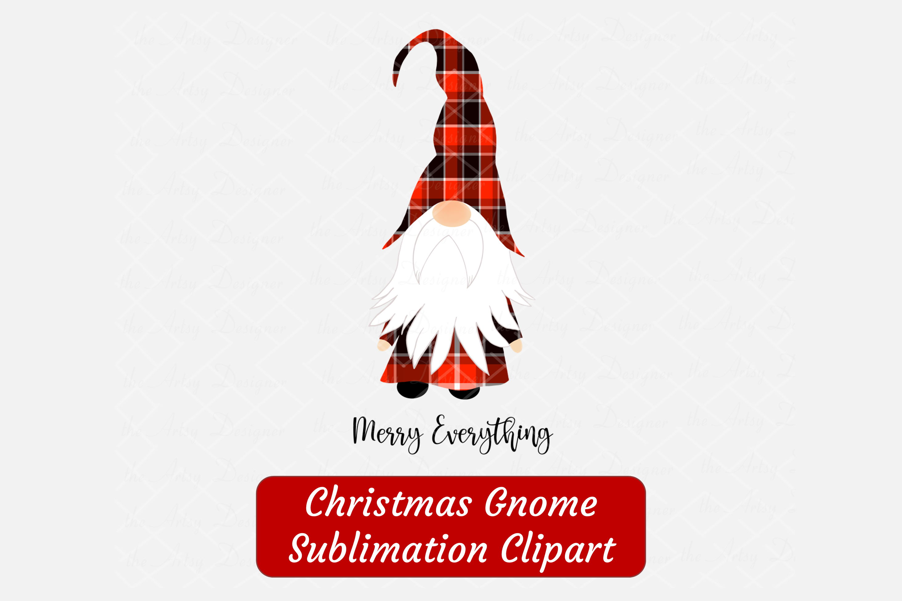 Merry Everything Gnome Red Buffalo Plaid Sublimation ClipArt example image 3