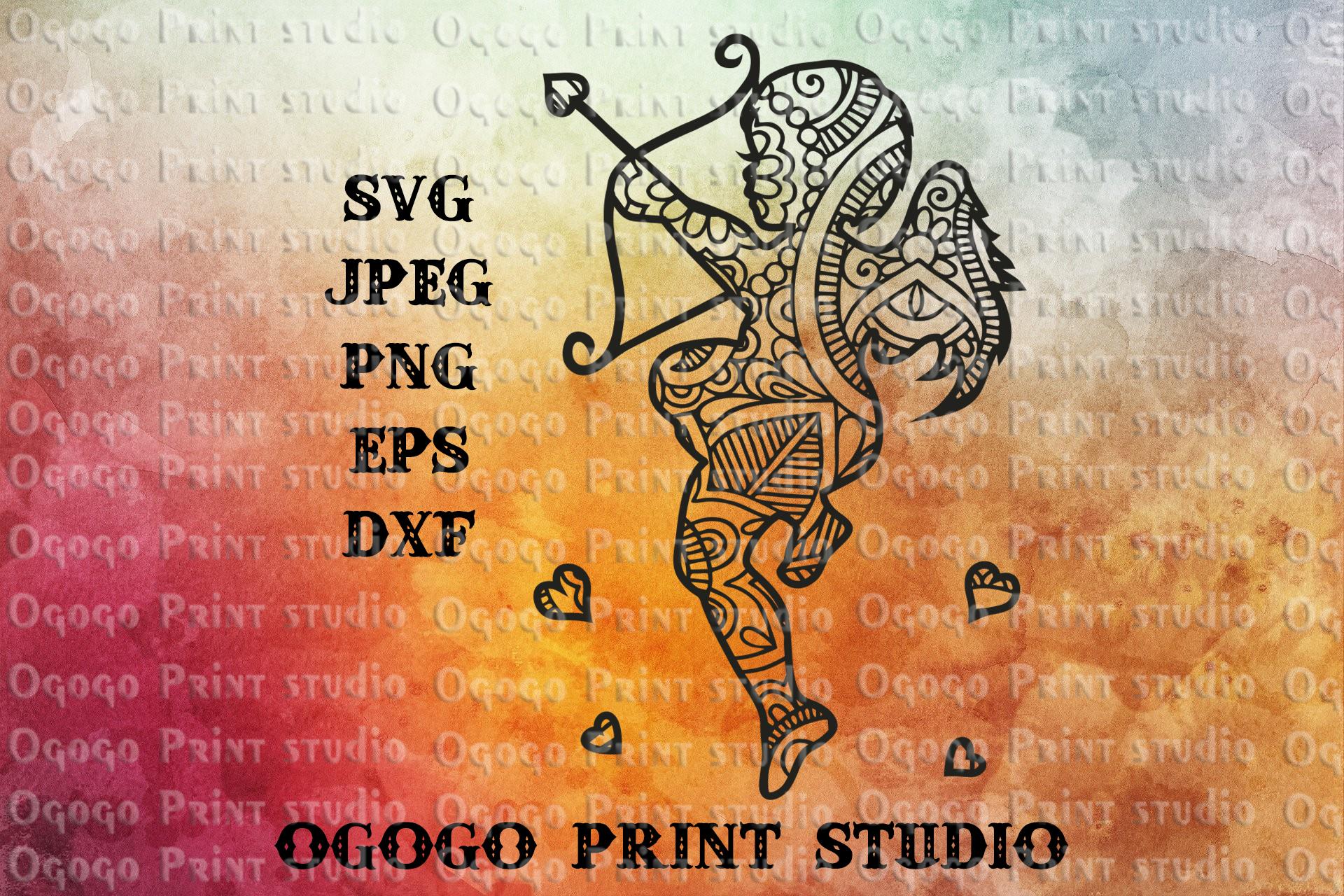 Cupid svg, Mandala svg, Valentines day svg, Zentangle SVG example image 1