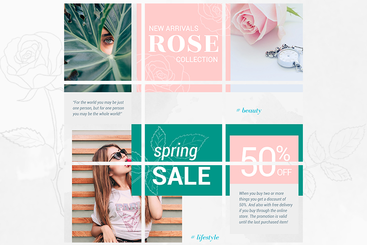 Instagram Puzzle Template - Rose example image 2