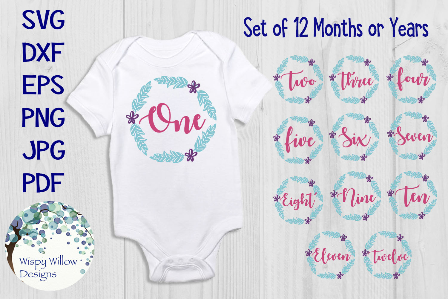 Baby Monthly Milestone SVG Bundle | First Year Iron Ons example image 1