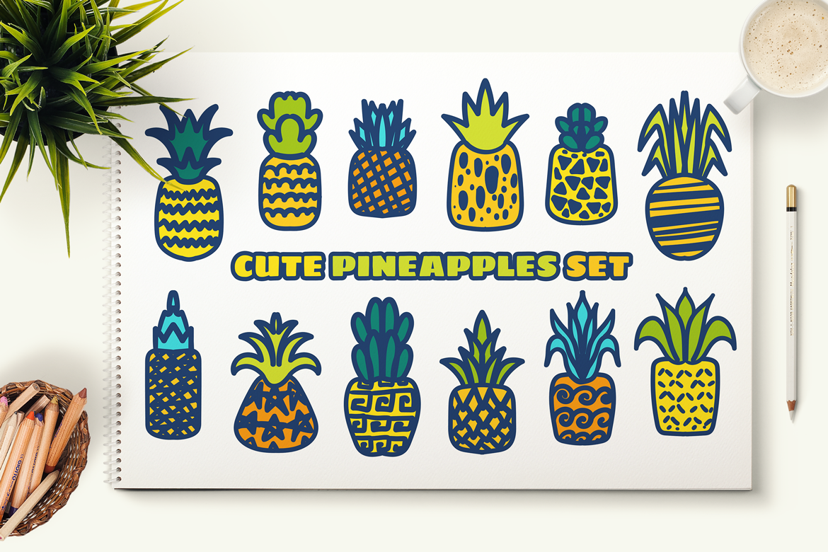 Cute Hand Drawn Pineapples Set example image 4