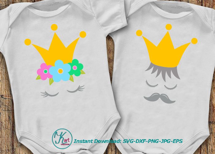 Prince Princess crown face eyelashes mustaches svg dxf png example image 1