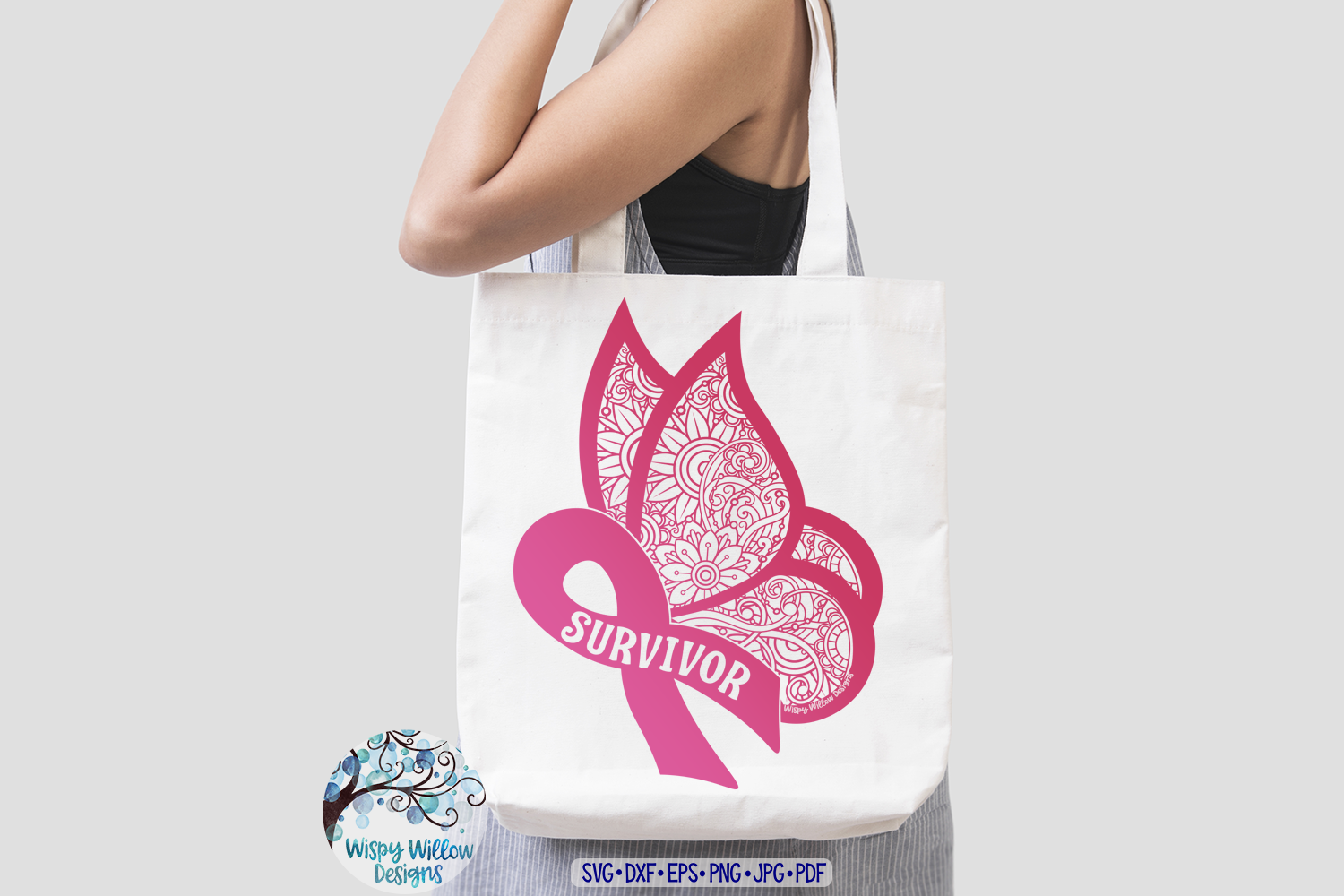 Survivor Ribbon Butterfly Zentangle SVG | Breast Cancer SVG example image 2