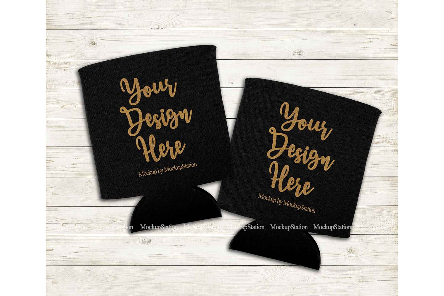 Two Can Coolers Mockup, Black Can Holder Flat Lay Mock Up example image 1