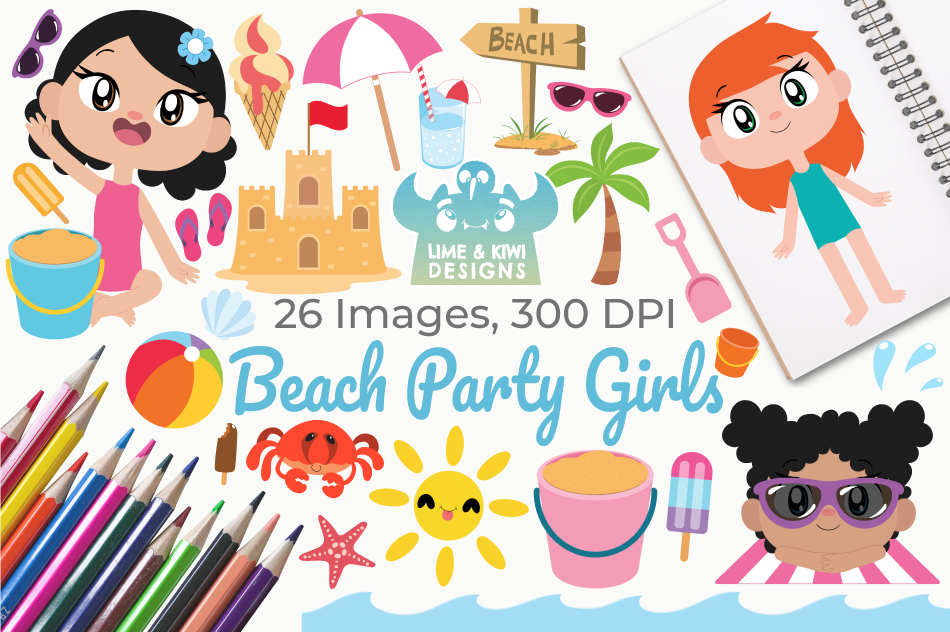 Beach Party Girls Clipart, Instant Download Vector Art example image 1