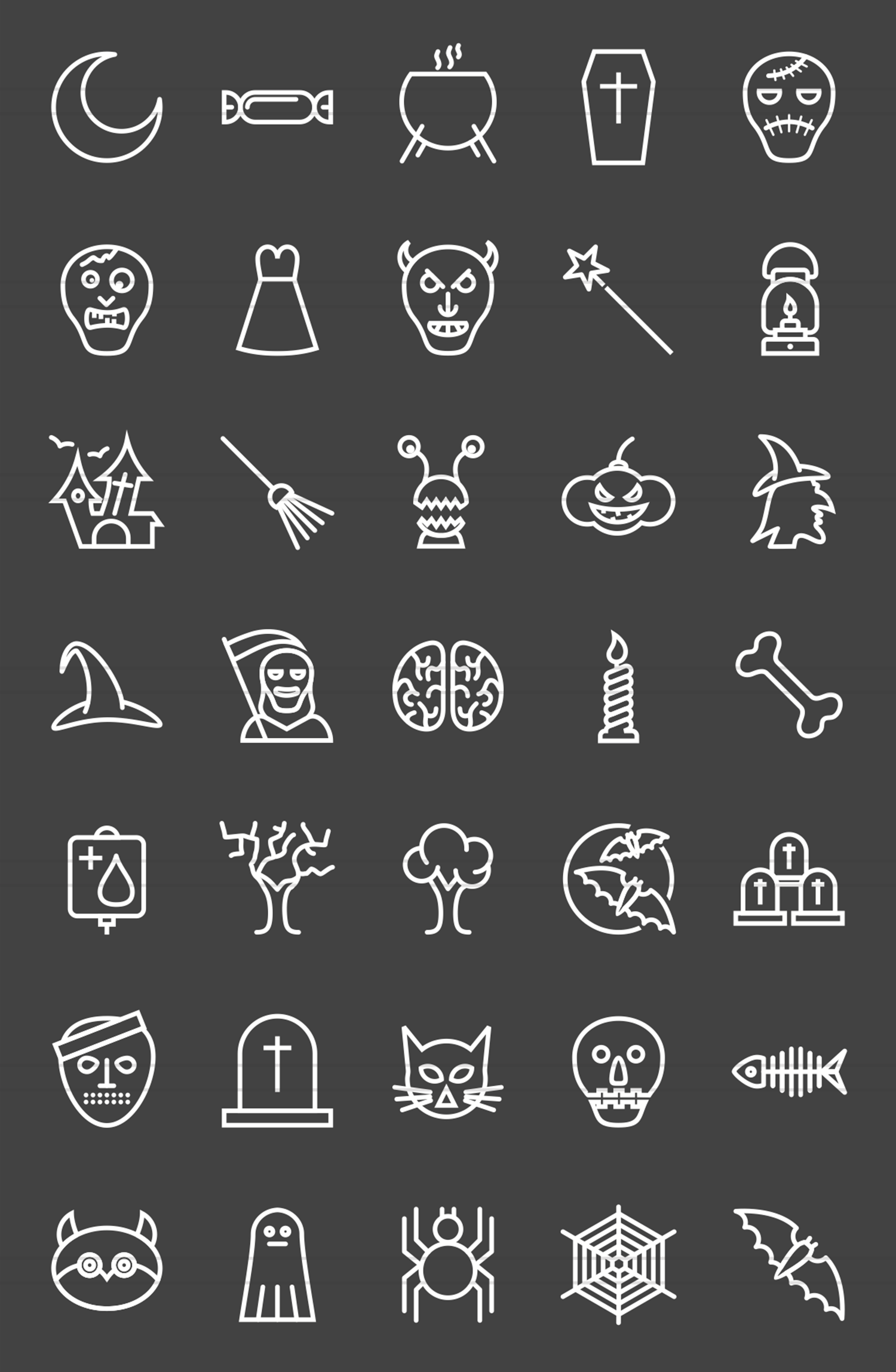 35 Halloween Line Inverted Icons example image 2