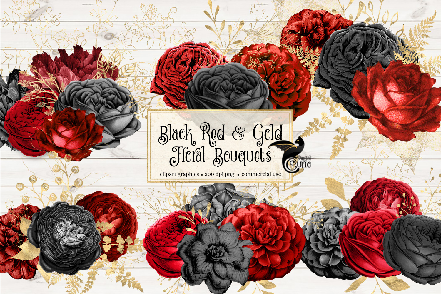Black Red and Gold Floral Clipart example image 2