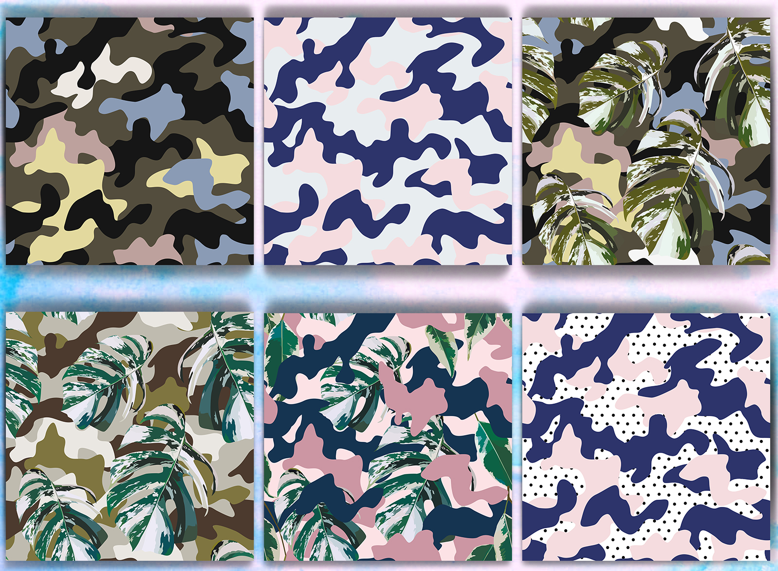 Camo. Pattern set. Seamless design example image 2