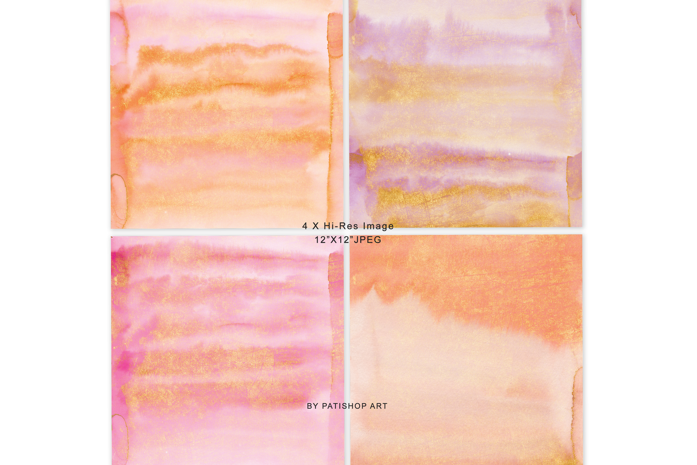 Hand Painted Watercolor Glittered Pink & Orange Backgrounds example image 9