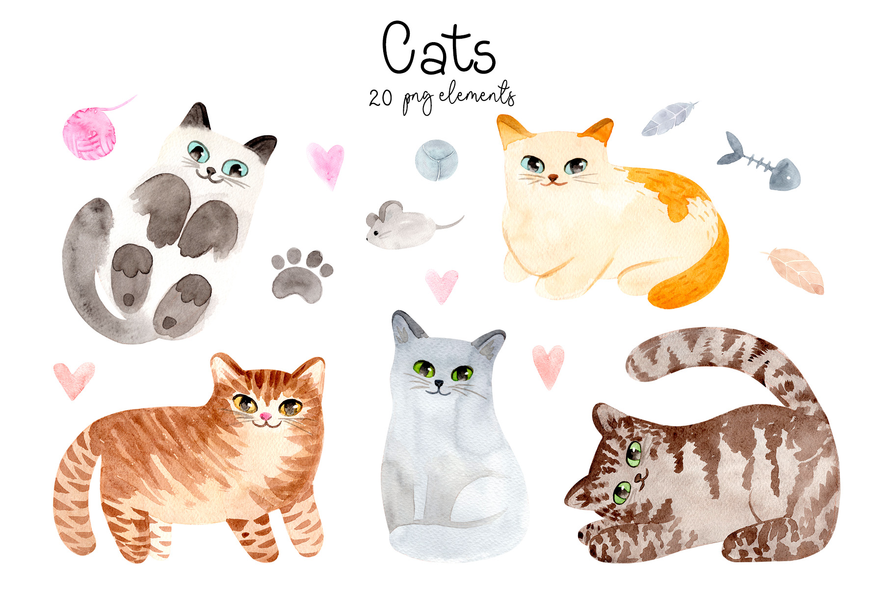 Watercolor Cute Cats. Patterns and Cliparts example image 2