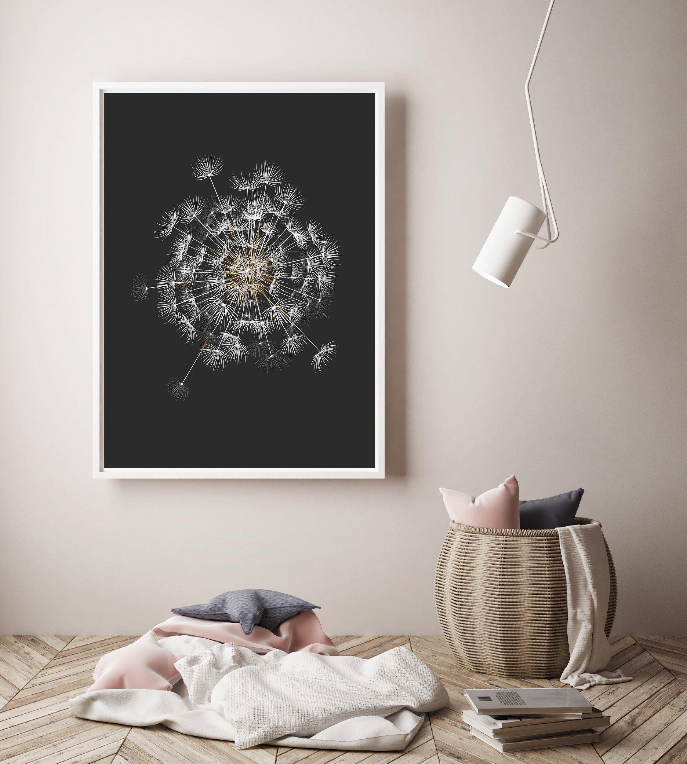 Dandelion Printable, Black Background Botanical Prints example image 2