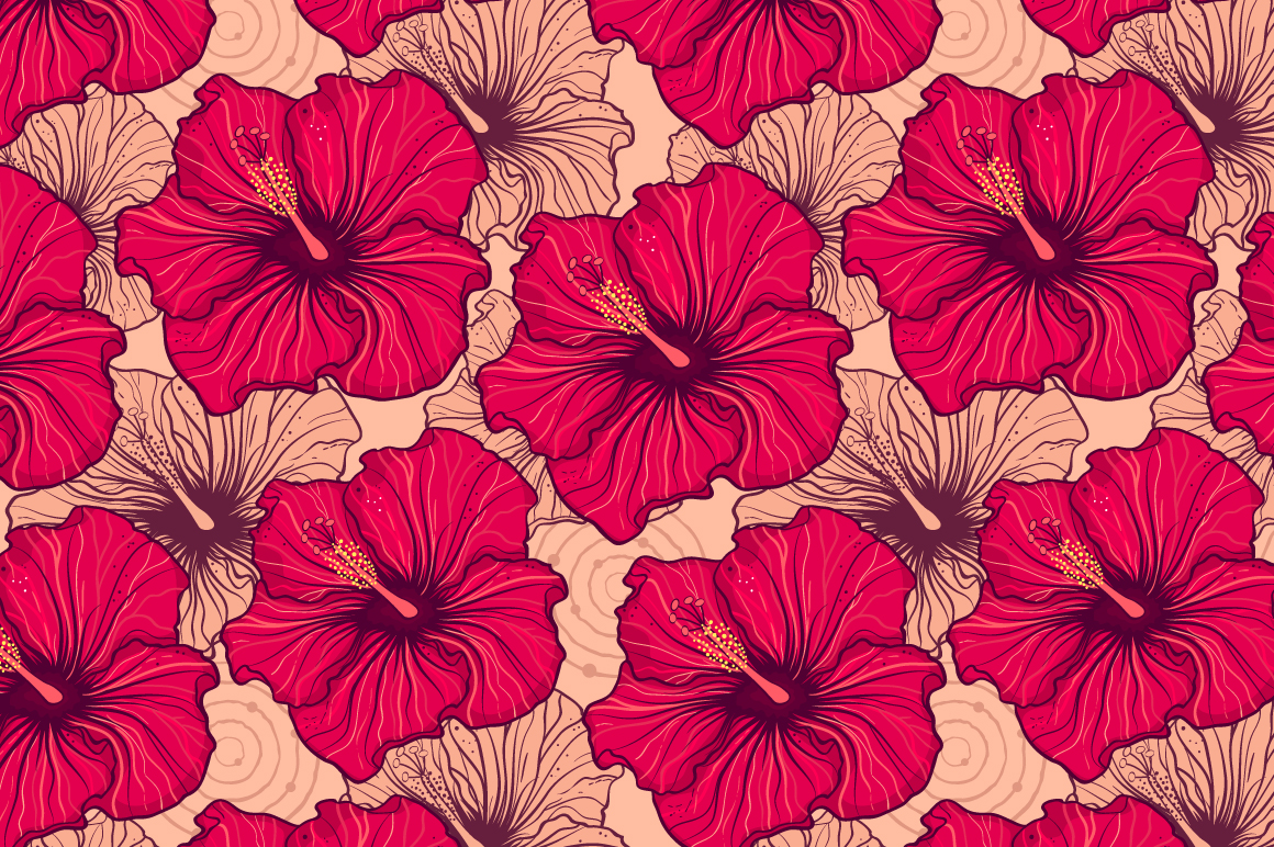 Tropical hibiscus.Seamless pattern example image 2
