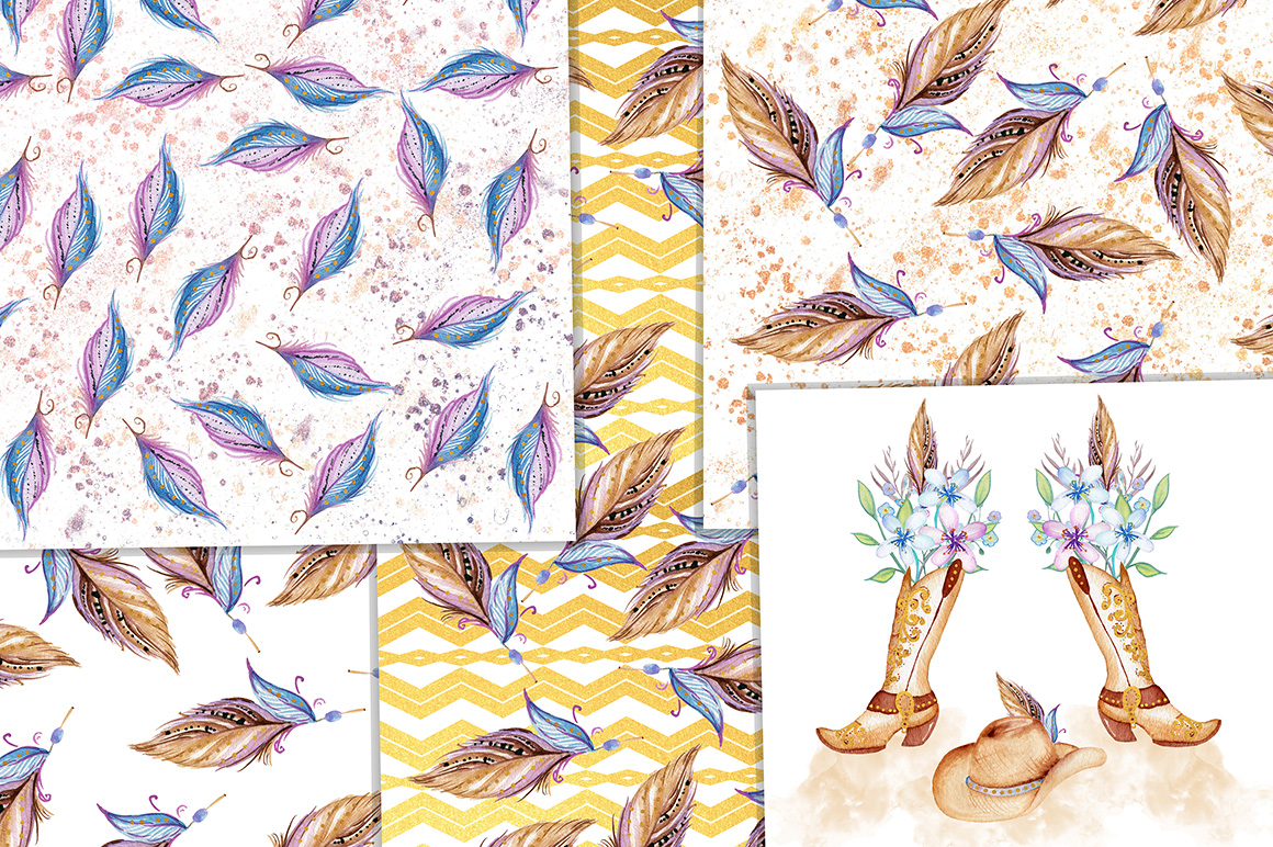 Watercolor Western Digital papers, Cowgirl, Boho papers example image 2