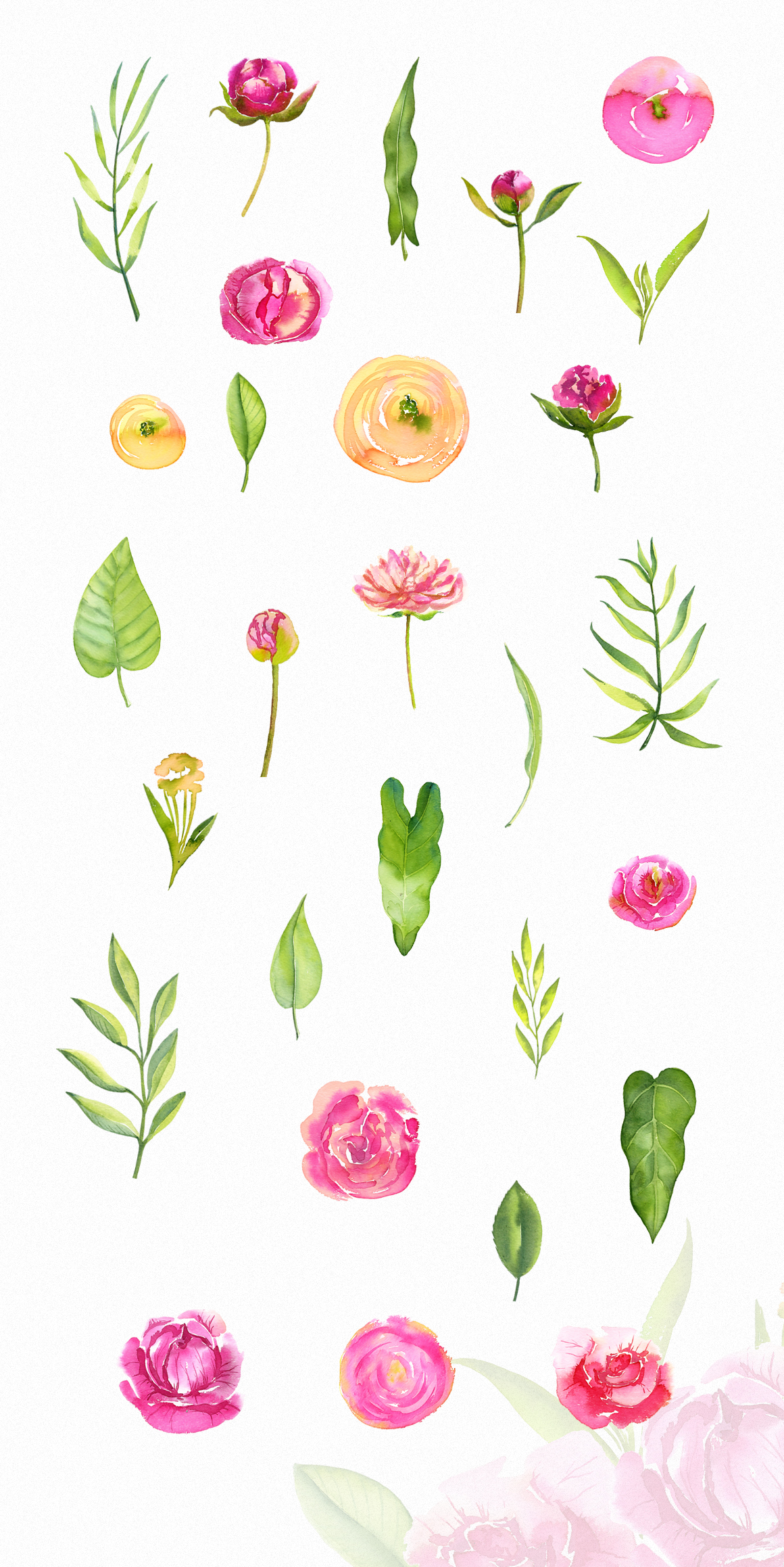 Watercolor Bright Peonies & Twigs example image 2