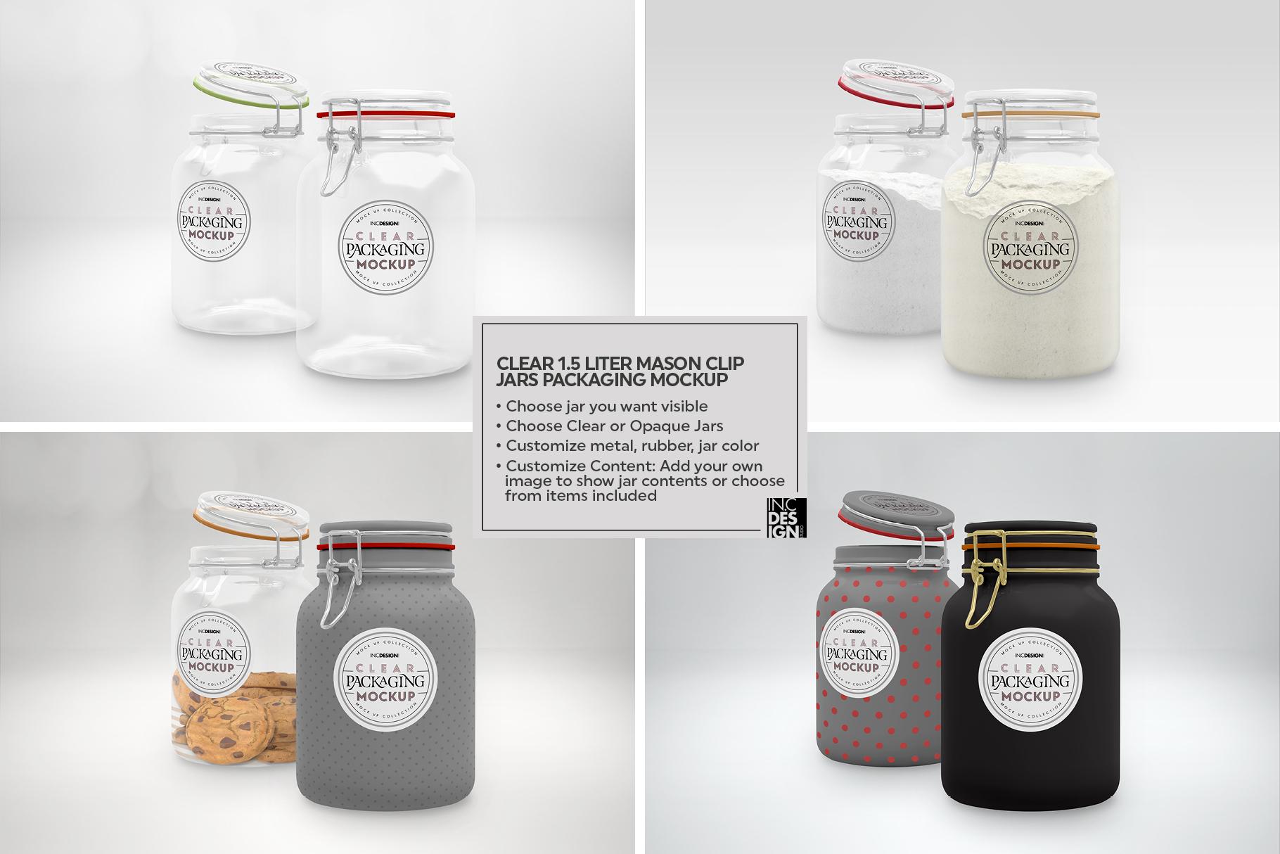 Clear 1.5 Liter Mason Clip Jar Packaging Mockup example image 2