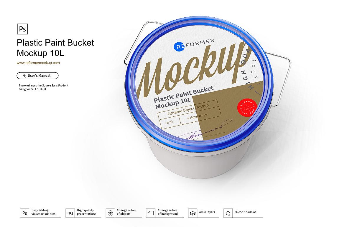 Plastic Paint Bucket Mockup example image 1