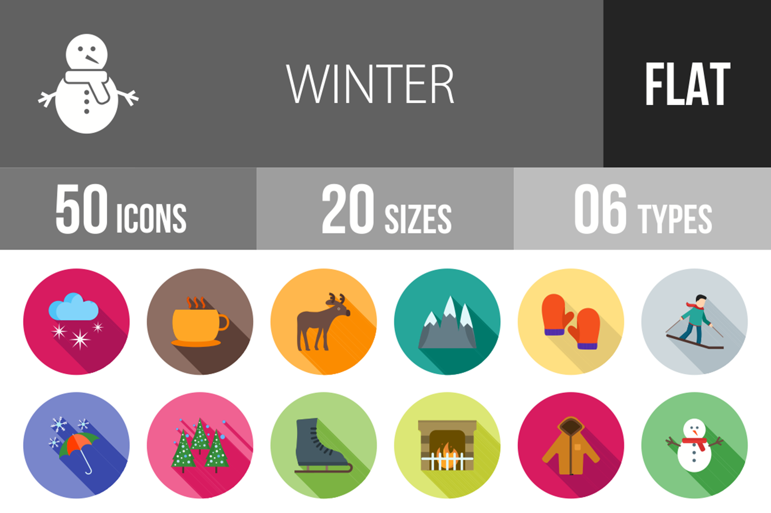 50 Winter Flat Long Shadow Icons example image 1