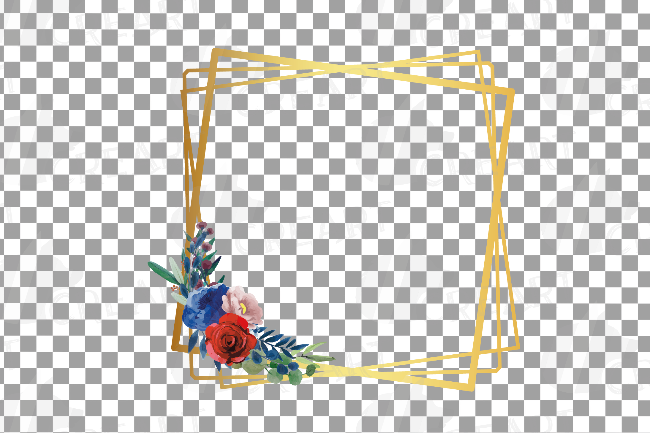 Watercolor elegant floral borders clip art. Wedding frames example image 5