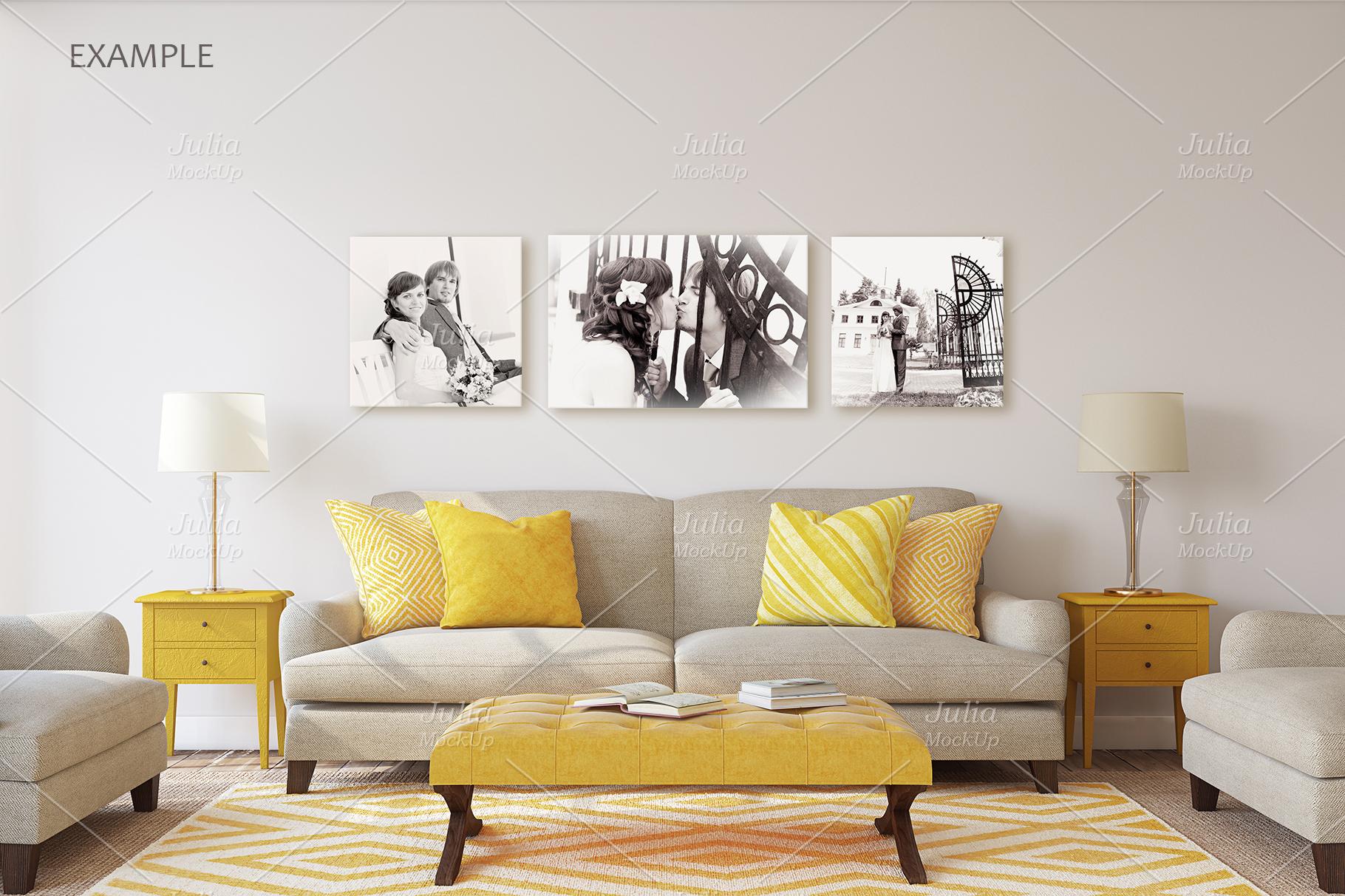 Living-room interiors. Wall&Frames Mockup. example image 11