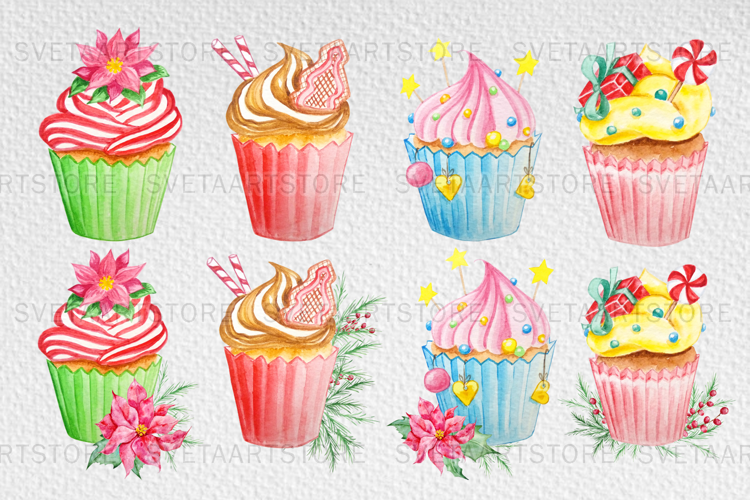 Christmas cupcakes clipart, watercolor cake example image 2