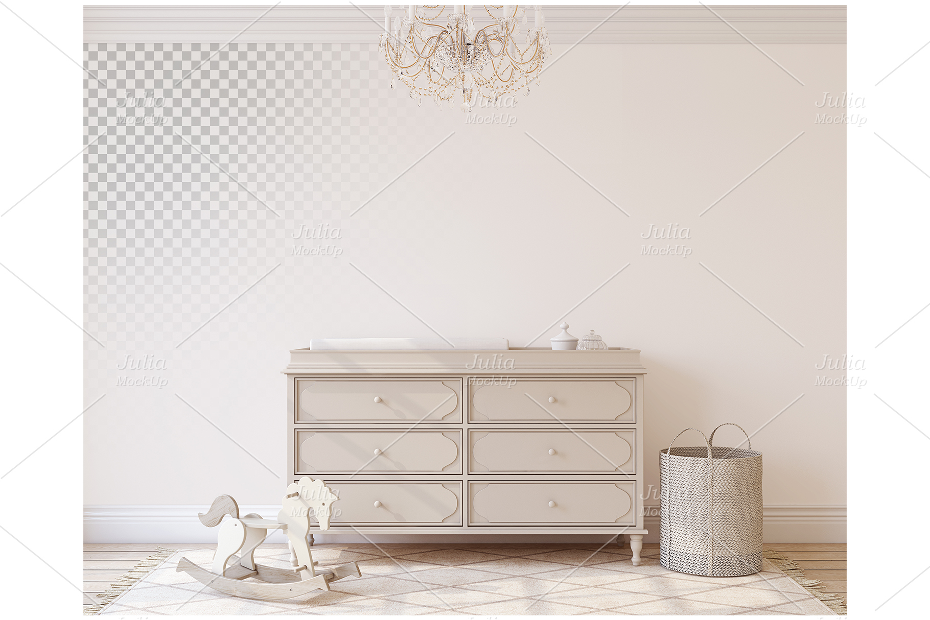 Romantic nursery. Wall&Frames Mockup. example image 6