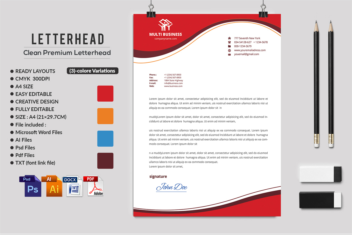 12 Clean Rsume Invoice and Letterhead Bundle example image 21