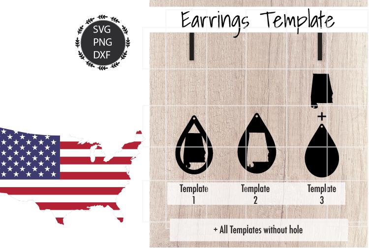 Earrings Template - Alabama Teardrop Earrings Svg example image 2