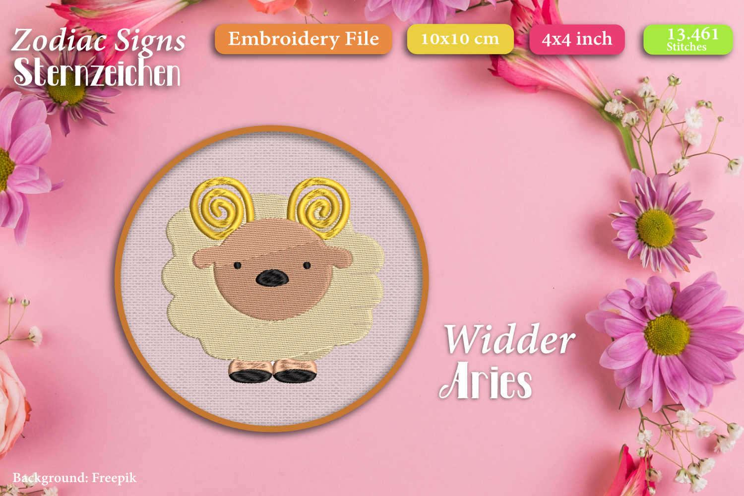 Zodiac sign - Aries - Embroidery Files example image 1