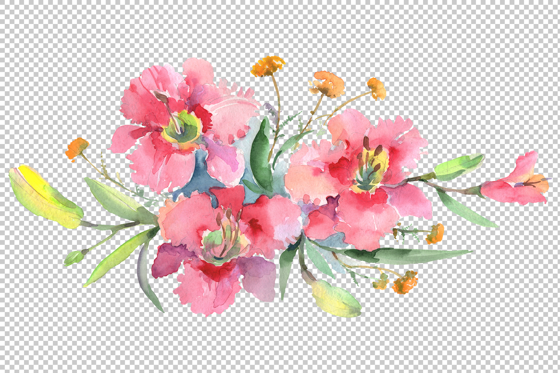 Imperial bouquet Watercolor png example image 2