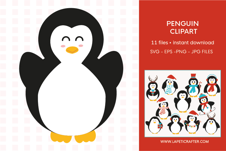 Christmas penguin clipart set, winter animals vector example image 9
