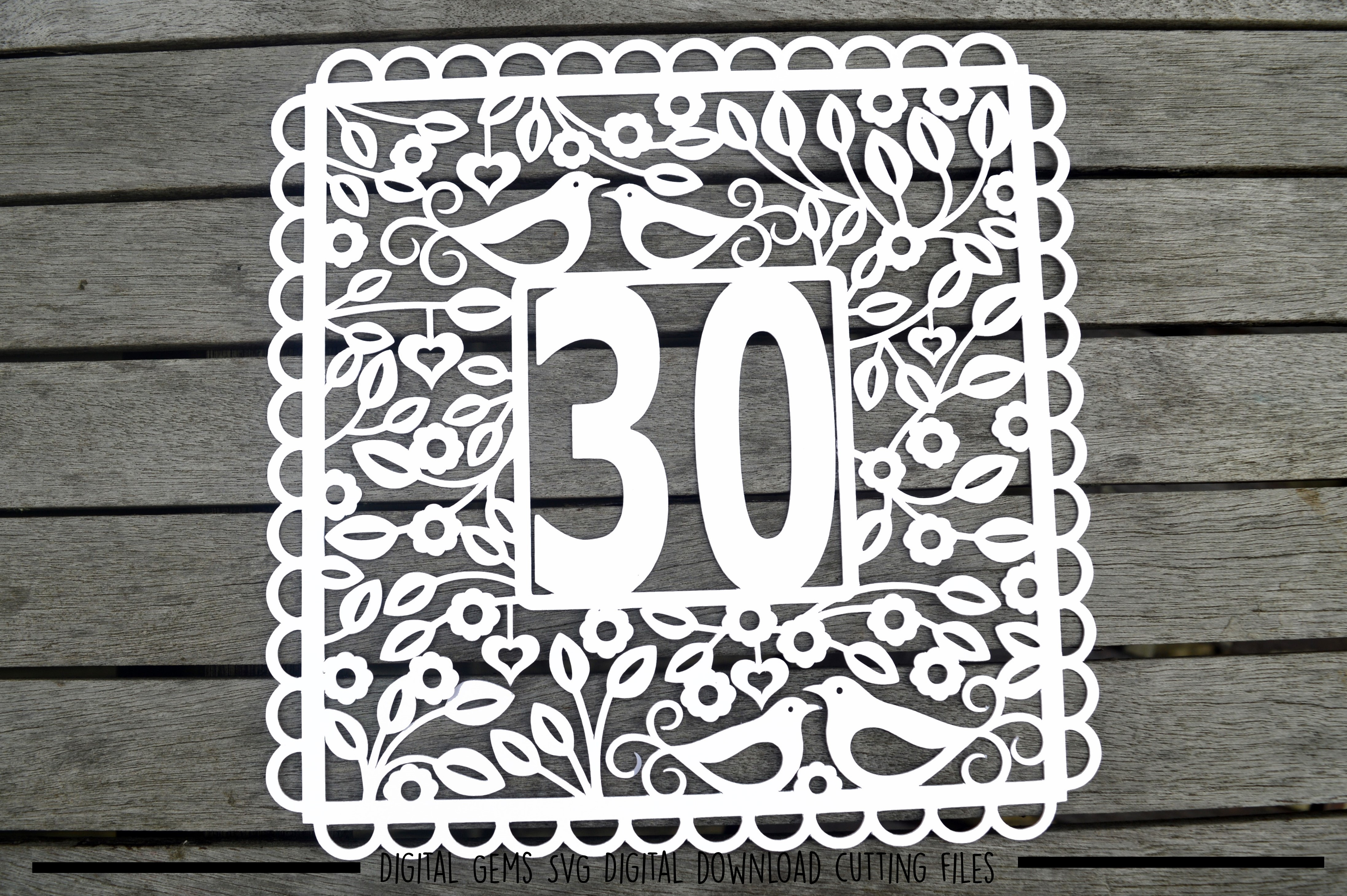 Number 30 paper cut SVG / DXF / EPS files example image 2