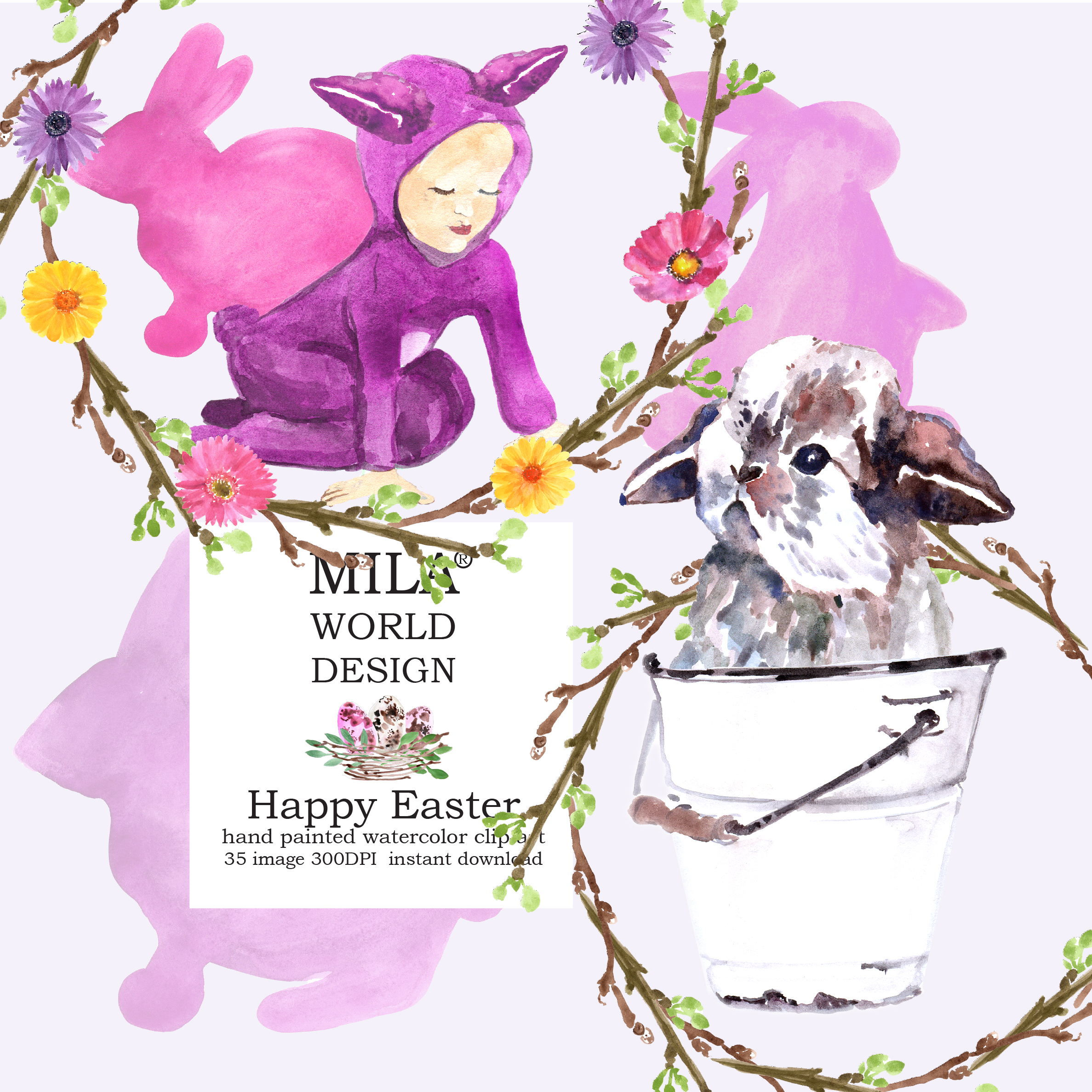 Easter Bunny and Pink tulips  example image 6