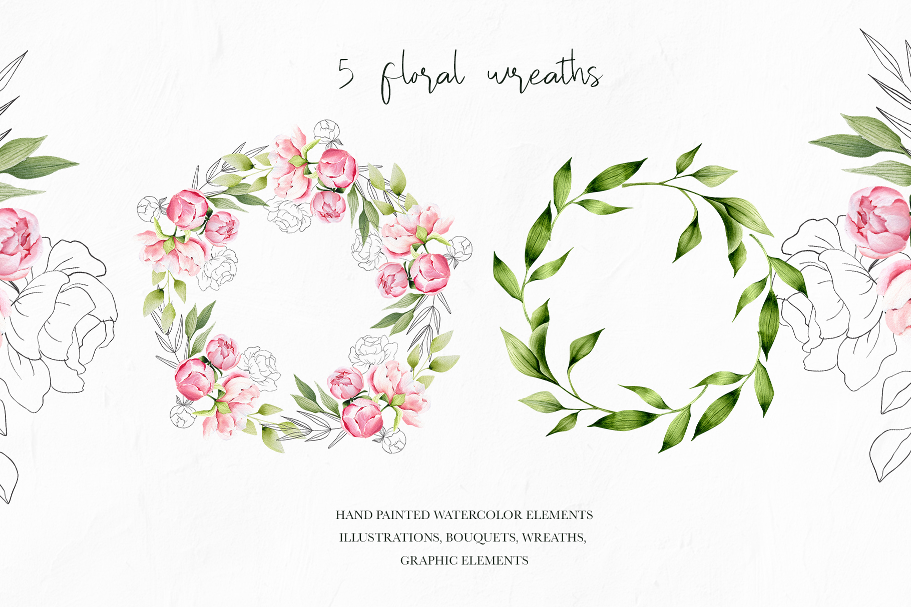 Watercolor summer pink peonies, wedding clipart, spring example image 2