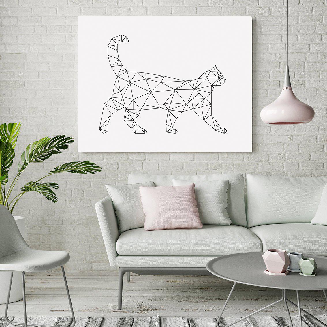 Geometric Cat Print, Minimalist Wall Art Download example image 2