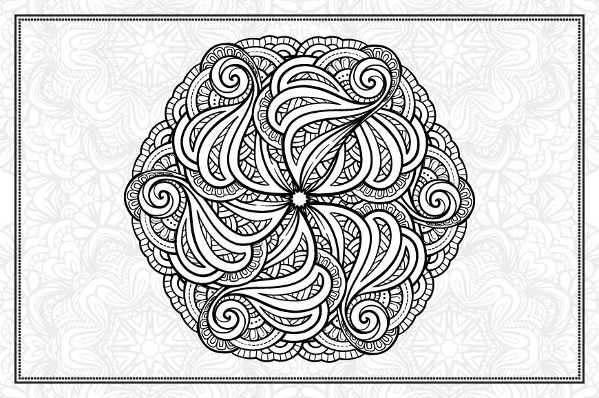 Black and white mandalas set example image 5
