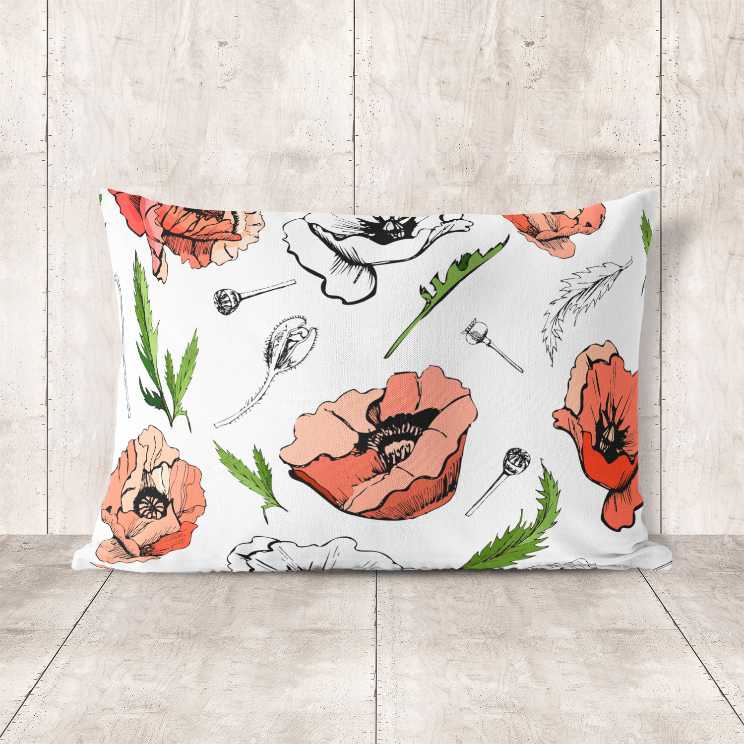 Bundle with sketches of poppy flowers. Modern and retro style.  example image 10