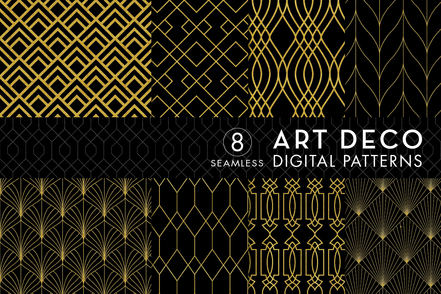 8 Seamless Art Deco Patterns - Black & Gold Set 1 example image 1