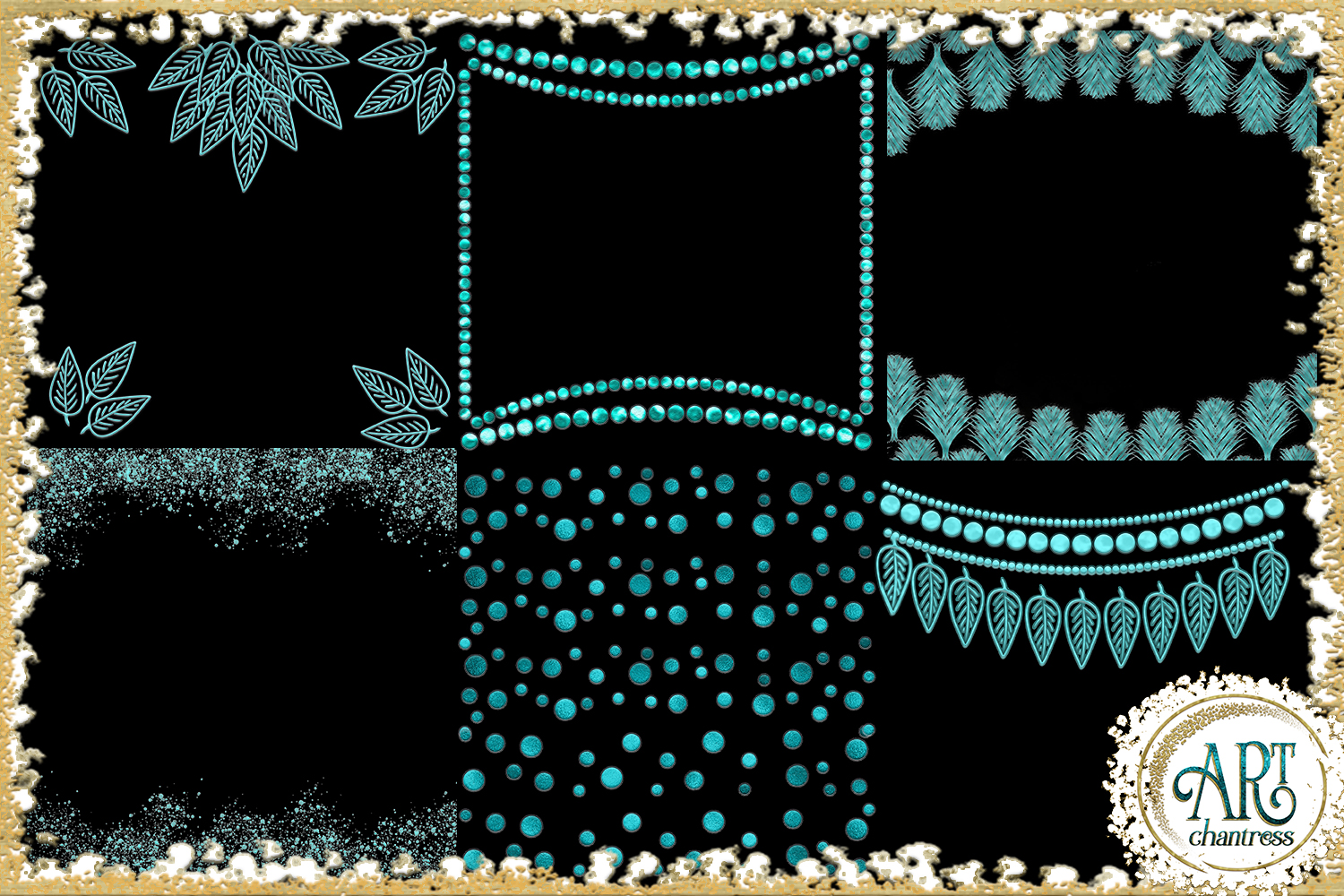 Teal Aqua Foil Glitter Seamless Digital Papers,Borders Set example image 6