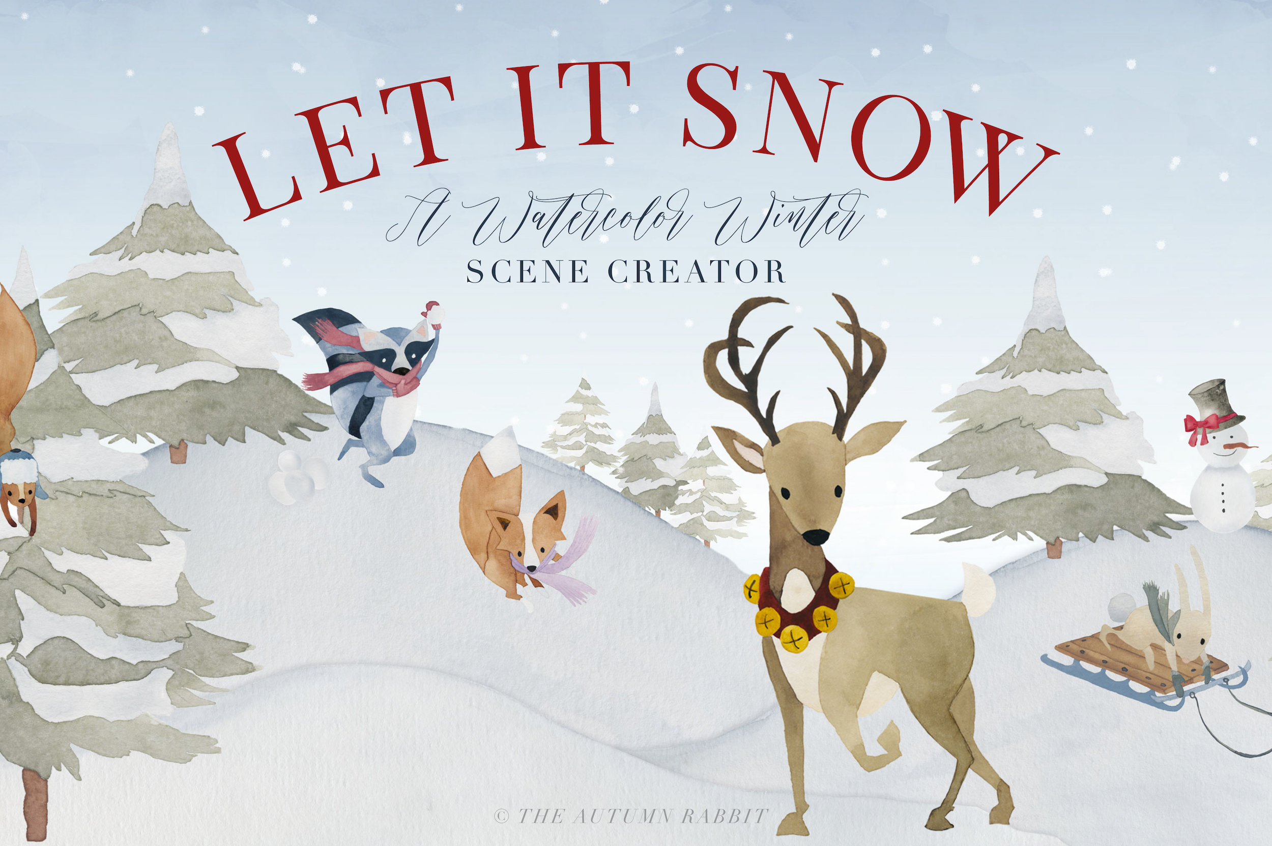 Watercolor Winter Scene Creator example image 1