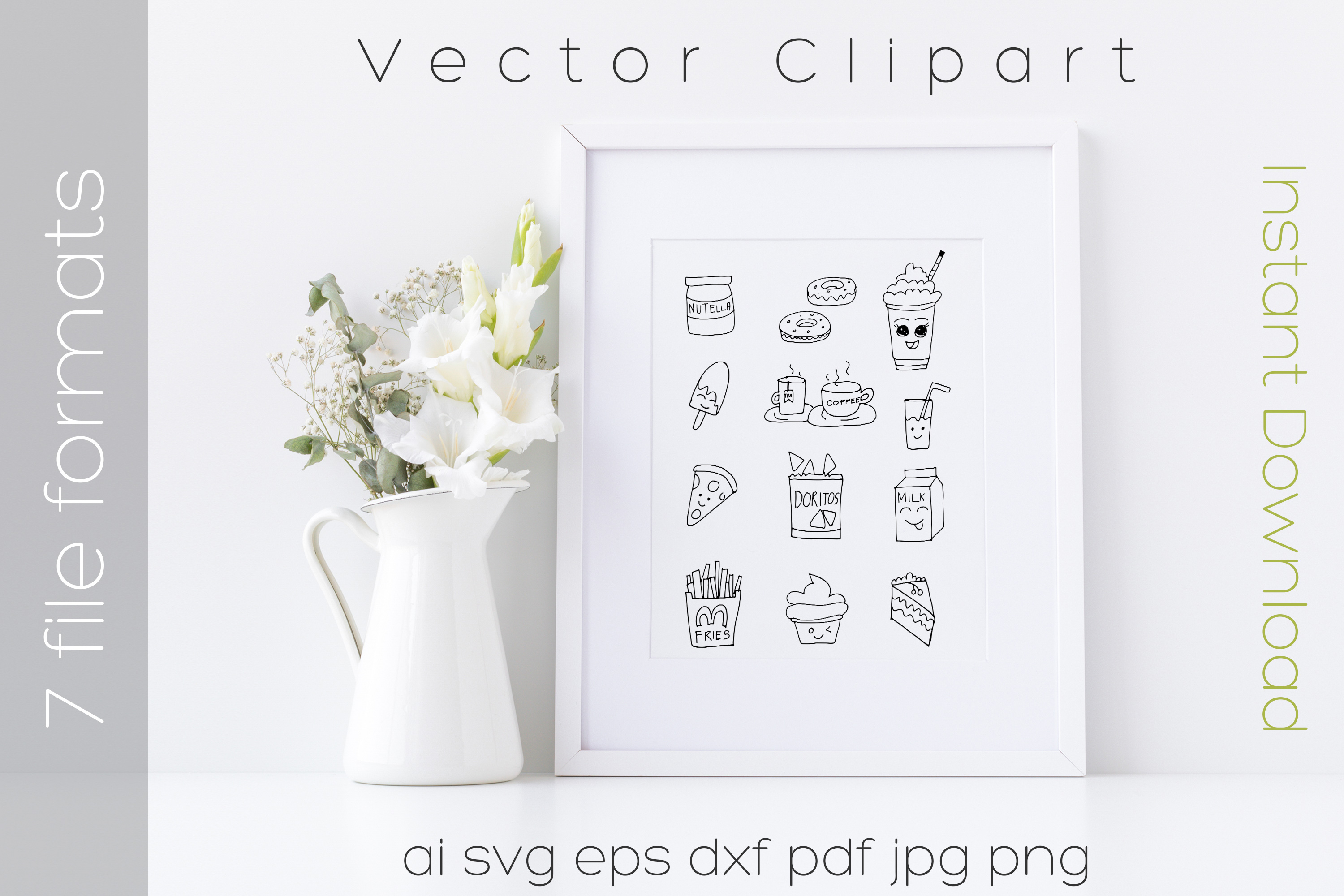 Food SVG Bundle Clipart Doodle Drawing Vector Cut Files example image 5