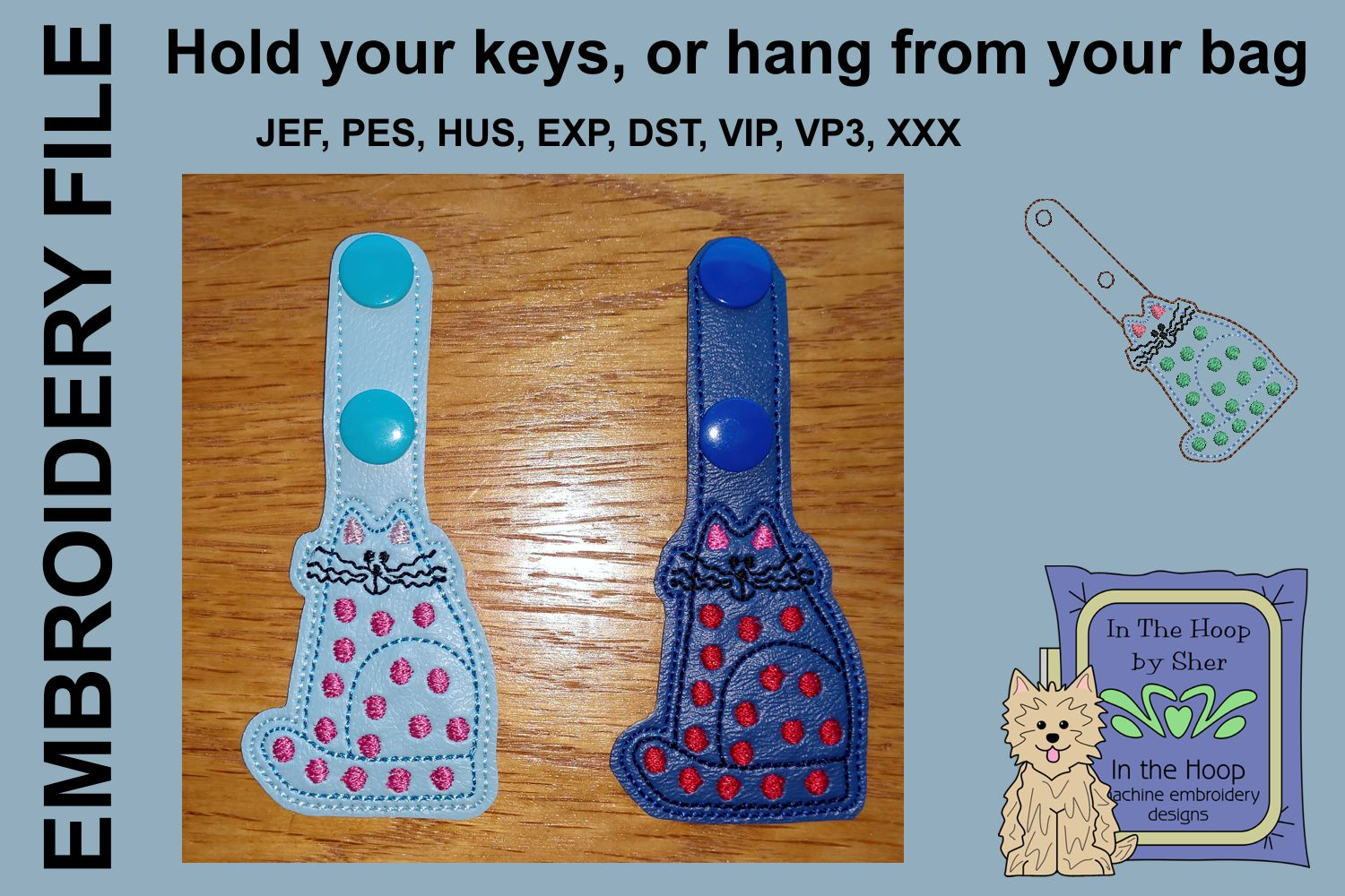 ITH Funky Cat Vinyl Key Fob or Bag Tag - Snap example image 2