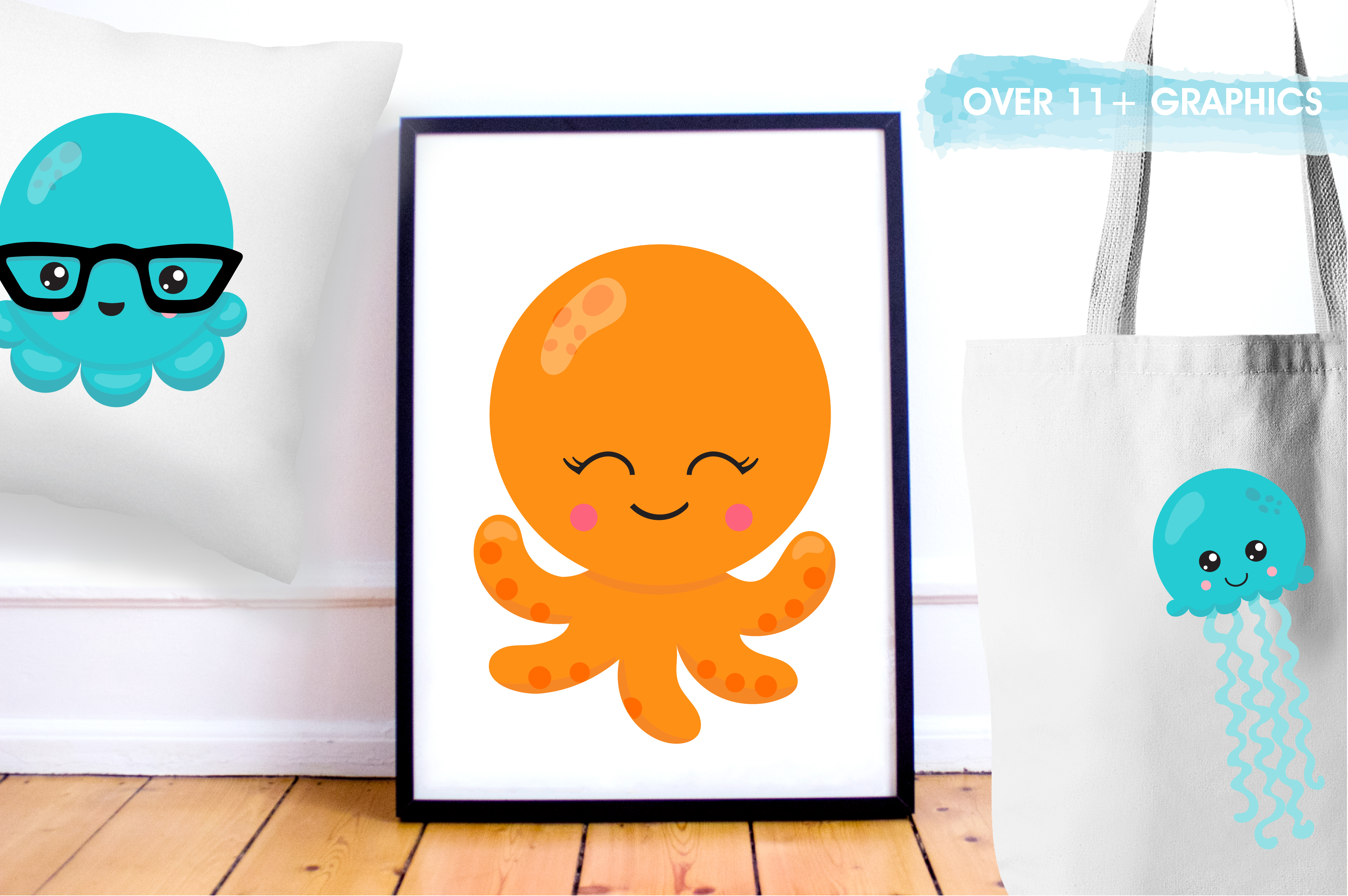 Hipster octopus emoji graphics and illustrations example image 5