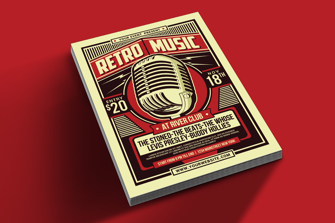 Retro Music Party Flyer example image 2