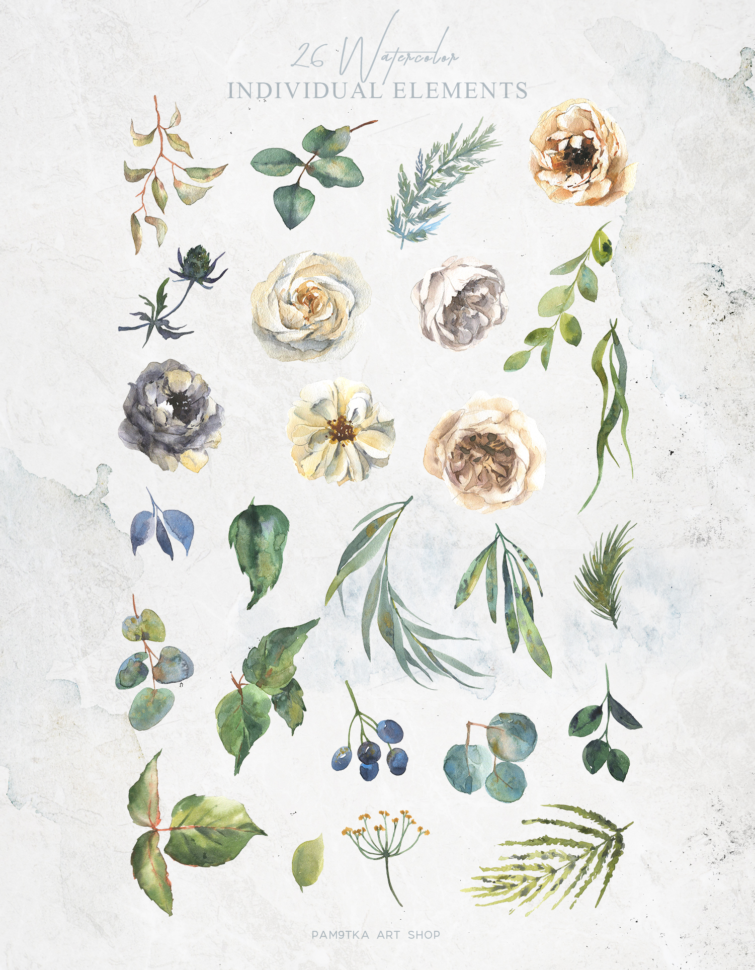 Delicate watercolor flowers and floral wreath example image 2