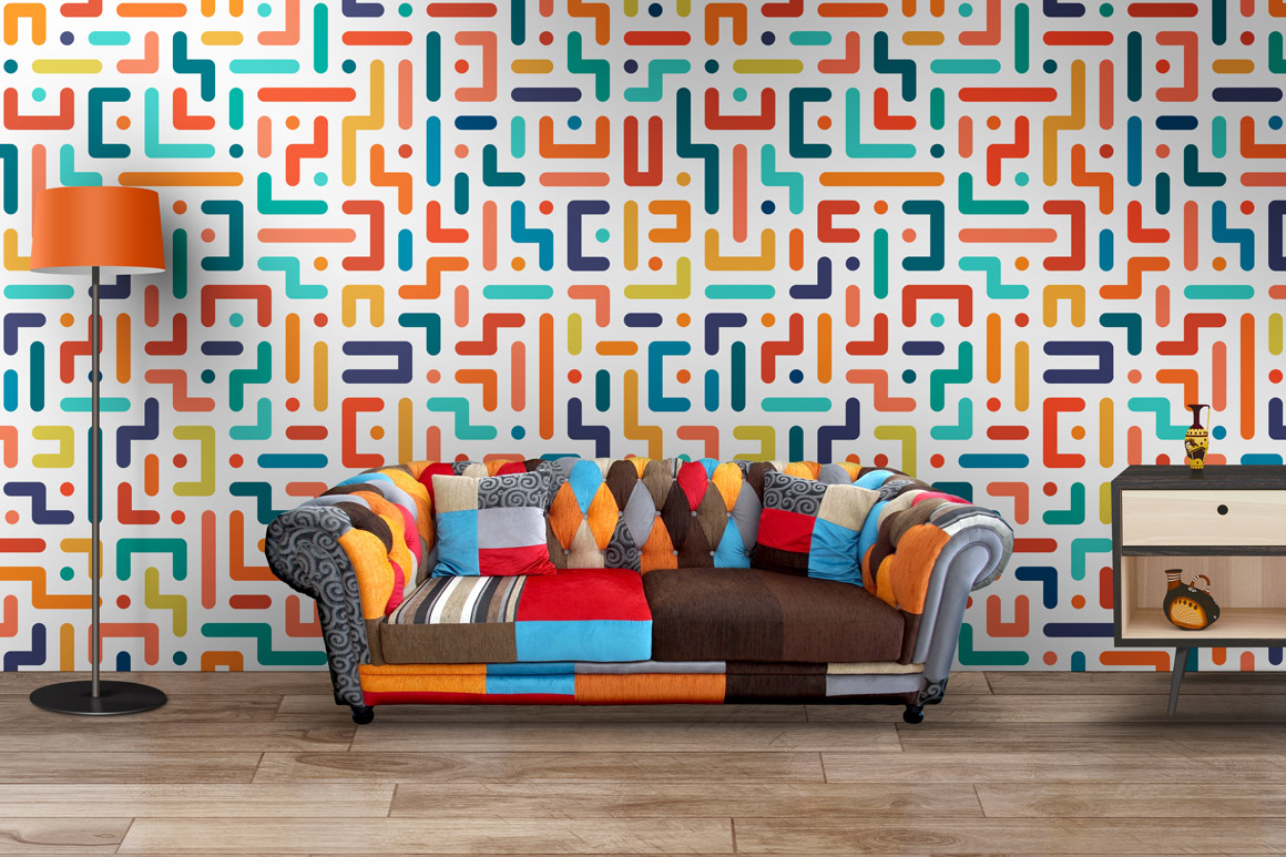Colorful geometric striped patterns. example image 3