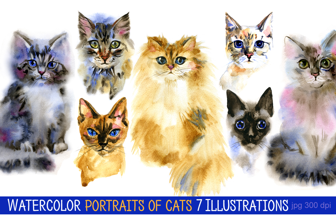 Watercolor portraits of cats example image 1