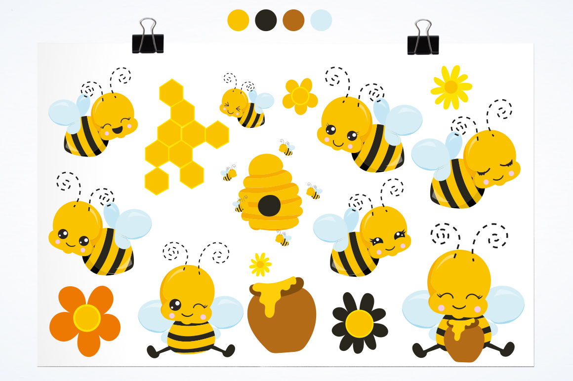 Kawaii Honeybees graphic and illustrations example image 3
