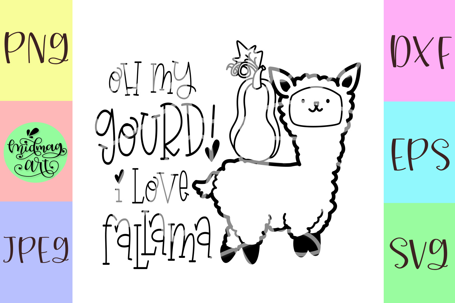 Oh my gourd i love fallama svg, fall svg example image 2