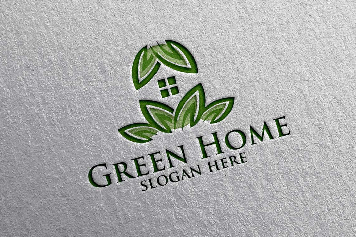 Real estate Logo, Green Home Logo 16 example image 3