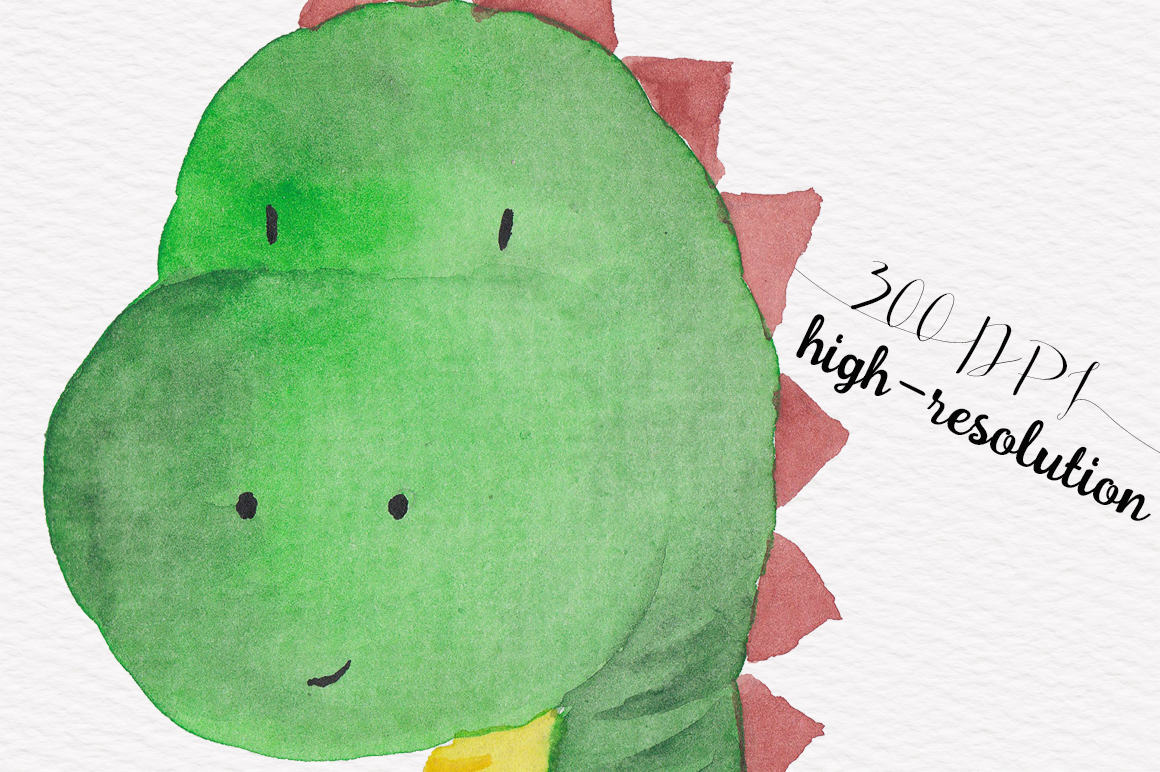 Cute Dinisaur Watercolor clipart example image 2